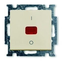 Выключатель 1-клавишный двухполюсный ABB BASIC55, с подсветкой, скрытый монтаж, слоновая кость, 1020-0-0090