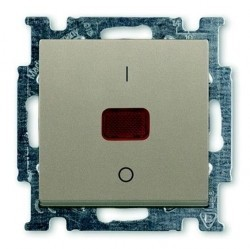 Выключатель 1-клавишный двухполюсный ABB BASIC55, с подсветкой, скрытый монтаж, шампань, 1020-0-0091