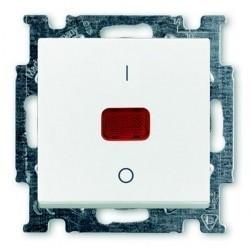 Выключатель 1-клавишный двухполюсный ABB BASIC55, с подсветкой, скрытый монтаж, альпийский белый, 1020-0-0089
