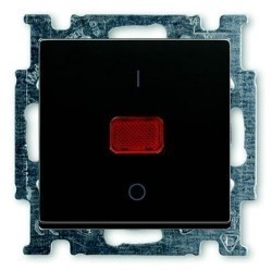 Выключатель 1-клавишный двухполюсный ABB BASIC55, с подсветкой, скрытый монтаж, château-black, 1020-0-0092