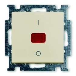 Выключатель 1-клавишный двухполюсный ABB BASIC55, с подсветкой, скрытый монтаж, chalet-white, 1020-0-0093