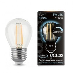 Лампа Gauss LED Filament Globe dimmable 105802205-D