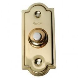 Выключатель 1-клавишный кнопочный Fontini GARBY, открытый монтаж, золотой, 14010502
