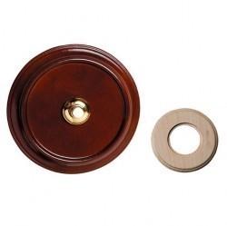 Выключатель 1-клавишный кнопочный Fontini GARBY, открытый монтаж, орех, 14014202