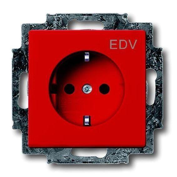 Розетка ABB FUTURE, скрытый монтаж, с заземлением, со шторками, красный, 2013-0-5325