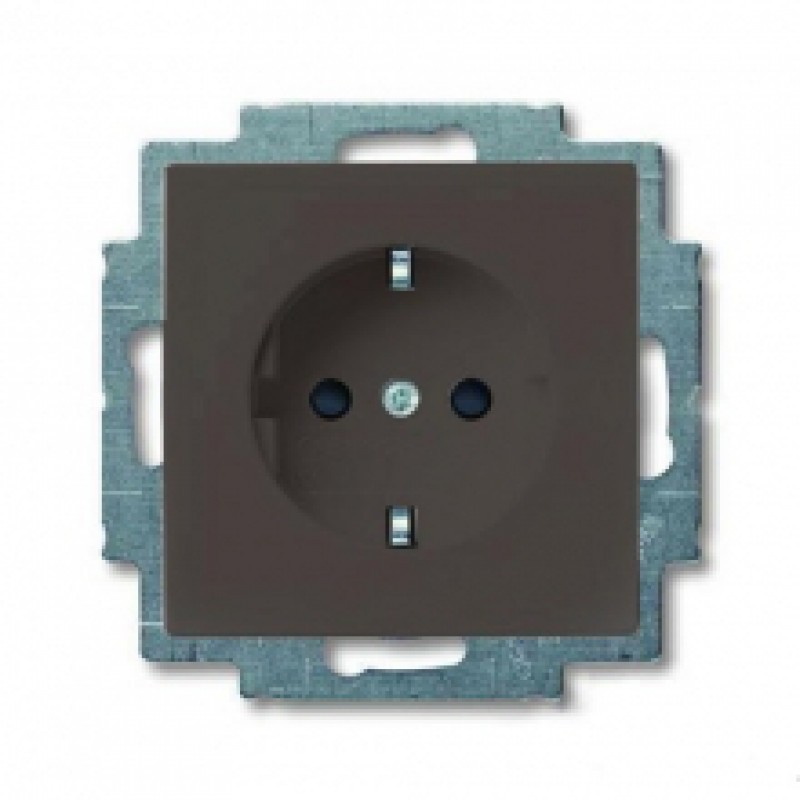 Розетка ABB BASIC55, скрытый монтаж, с заземлением, шоколад, 2011-0-6143