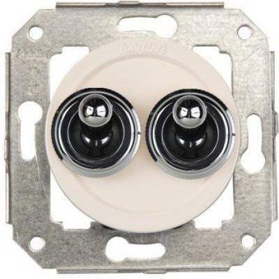 Выключатель тумблерный 2-клавишный кнопочный Fontini VENEZIA, хром/белый, 65345262