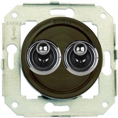Выключатель тумблерный 2-клавишный кнопочный Fontini VENEZIA, хром/коричневый, 65345522