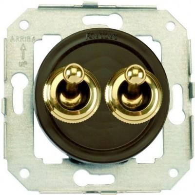 Выключатель тумблерный 2-клавишный кнопочный Fontini VENEZIA, золото/коричневый, 65345542