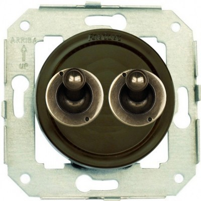 Выключатель тумблерный 2-клавишный кнопочный Fontini VENEZIA, бронза/коричневый, 65345572