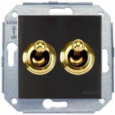 Выключатель тумблерный 2-клавишный кнопочный Fontini F37, золото/коричневый, 67345542