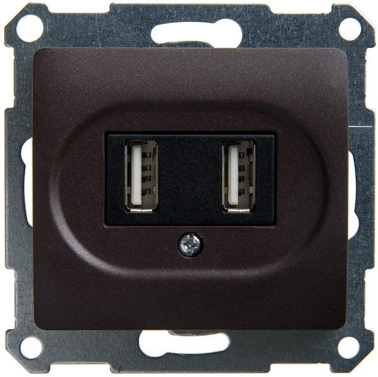 Розетка 2xUSB Schneider Electric GLOSSA, шоколад, GSL000832