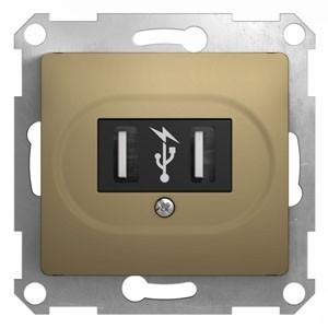 Розетка 2xUSB Schneider Electric GLOSSA, титан, GSL000432