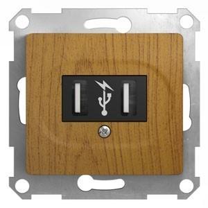Розетка 2xUSB Schneider Electric GLOSSA, дуб, GSL000532
