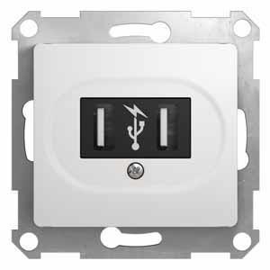 Розетка 2xUSB Schneider Electric GLOSSA, белый, GSL000132