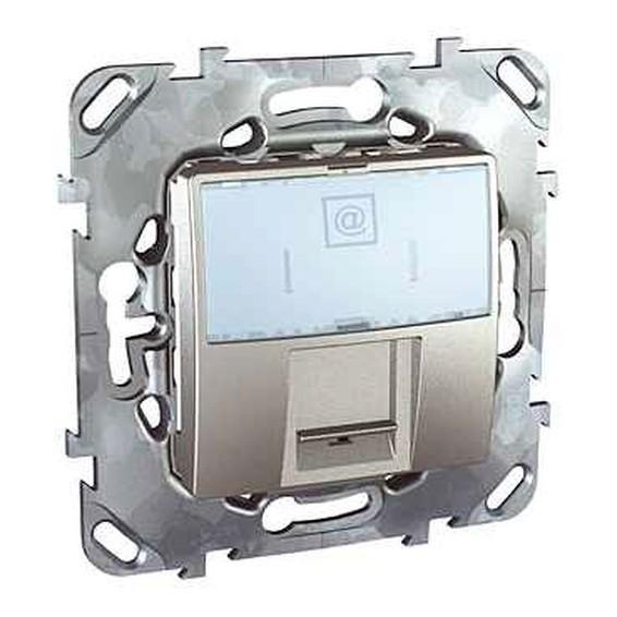 Розетка 1xRJ45 Cat.5 Schneider Electric UNICA TOP, алюминий, MGU5.421.30ZD