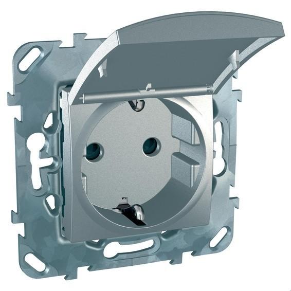 Розетка Schneider Electric UNICA TOP, скрытый монтаж, с заземлением, с крышкой, со шторками, алюминий, MGU5.037.30TAZD