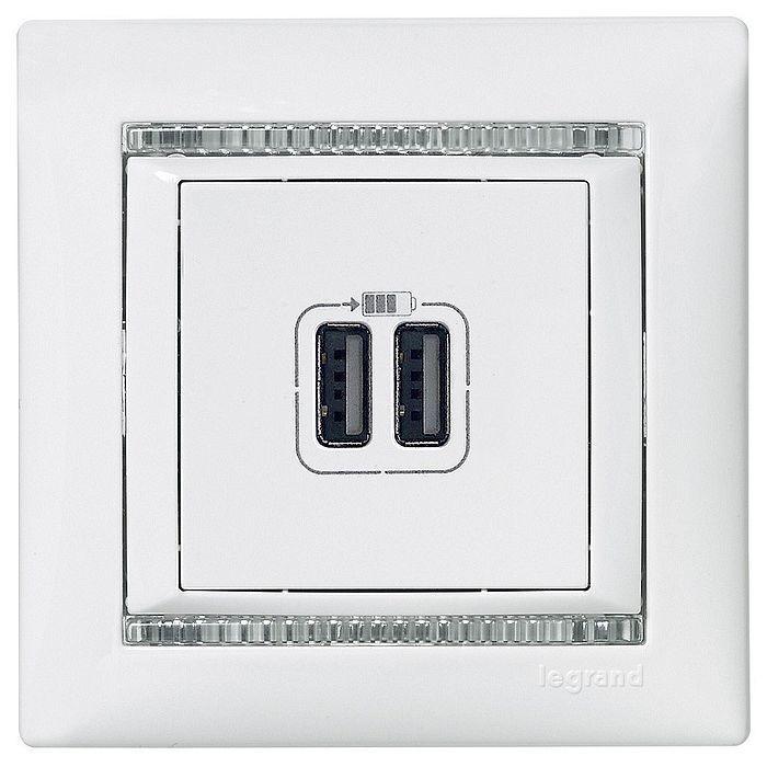 Розетка 2xUSB Legrand VALENA CLASSIC, белый, 770470