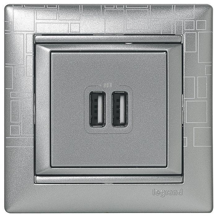 Розетка 2xUSB Legrand VALENA CLASSIC, алюминий, 770270