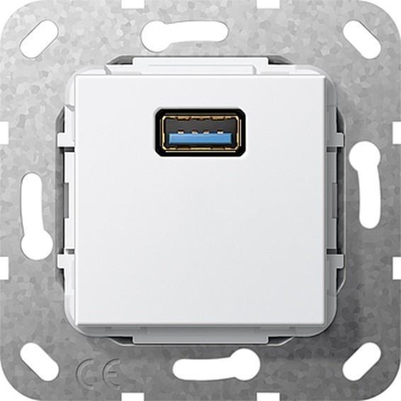 Розетка 1xUSB Gira SYSTEM 55, белый, 568303