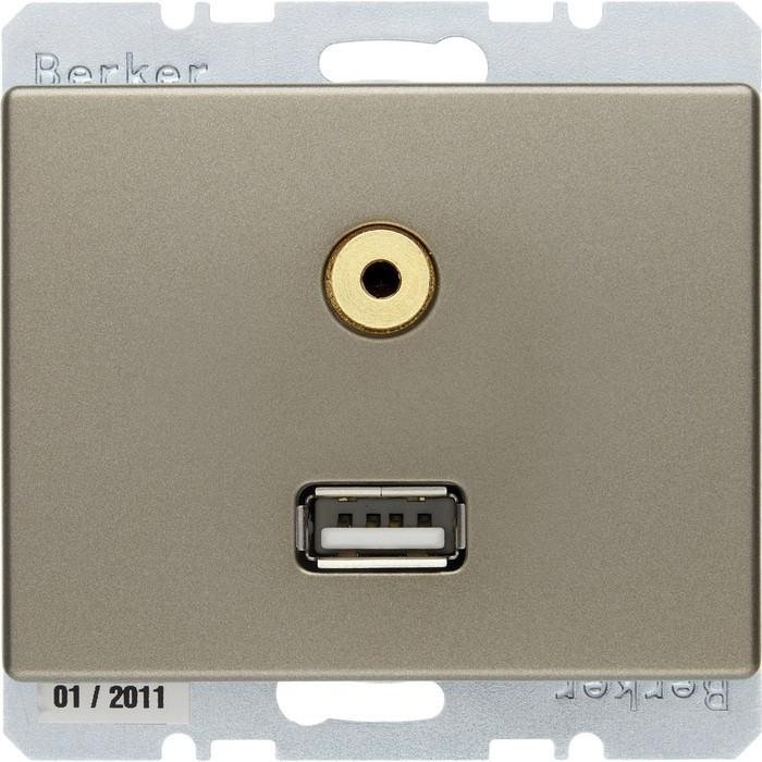 Розетка 1xUSB Berker ARSYS, светло-бронзовый, 3315399011