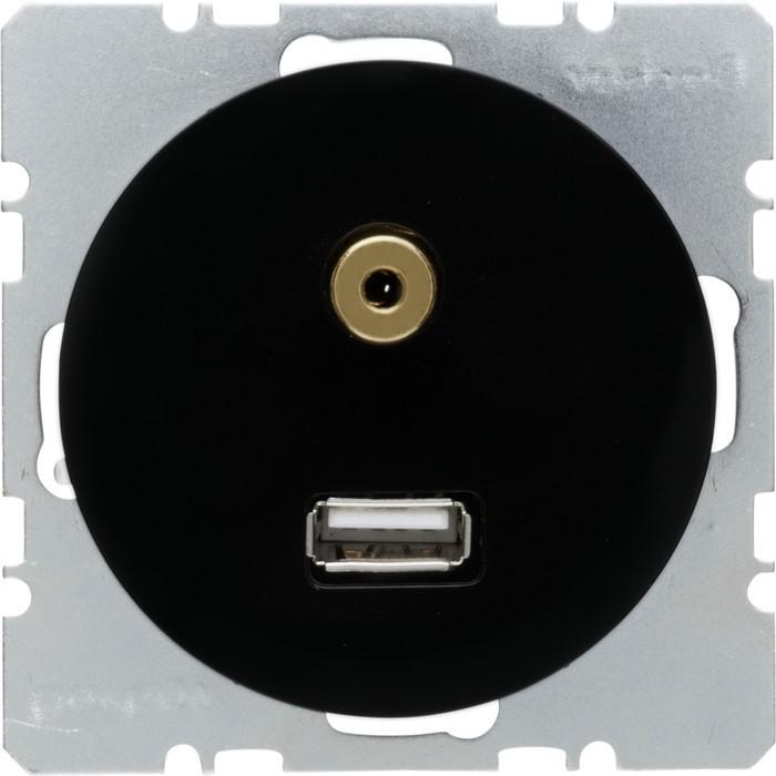 Розетка 1xUSB Berker, черный блестящий, 3315392045