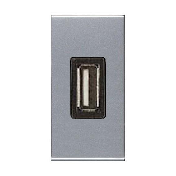 Розетка 1xUSB ABB ZENIT, серебристый, N2185 PL