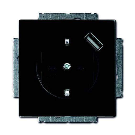 Розетка 1xUSB ABB FUTURE, черный бархат, 2011-0-6183