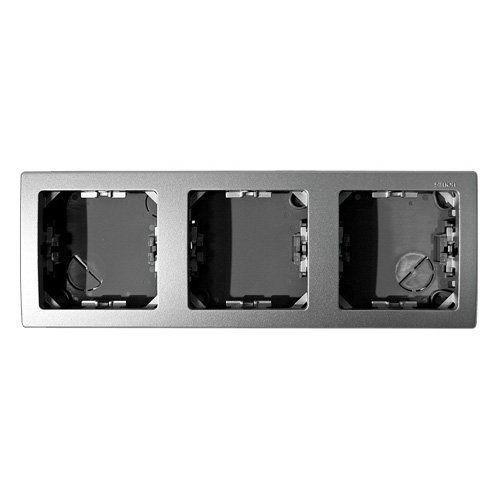 Рамка 3 поста Simon SIMON 73 LOFT, горизонтальная, алюминий, 73630-63
