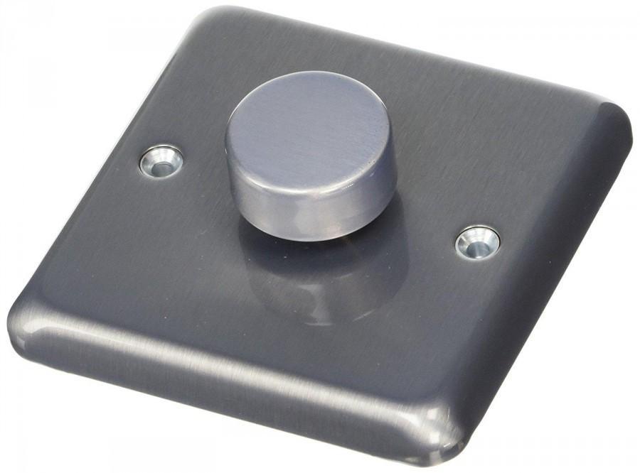 Электронный диммер-переключатель 500W/VA MK Electric, K1551BRCLV, матовый хром