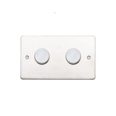 Двойной стандартный диммер-переключатель MK Electric 2X 60-450W, K1552BSS, матовая сталь