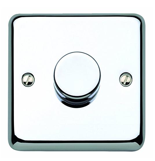Стандартный диммер-переключатель MK Electric 75-500W, K1551RPPCR, полированный хром