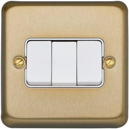 Переключатель трехклавишный MK Electric, 10А, K4673SAG, атласное золото