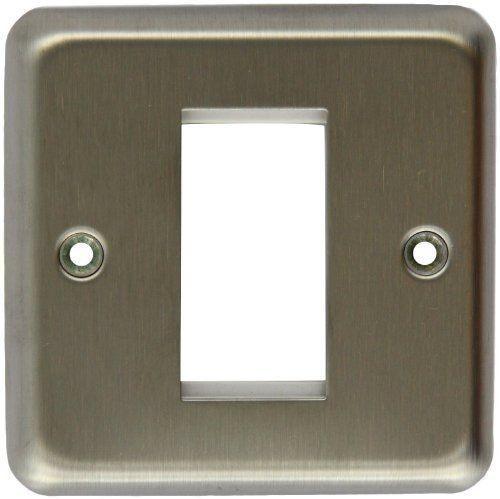 Лицевая панель для одного евромодуля MK Electric 25Х50 mm, K181BSS, матовая сталь