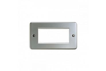 Лицевая панель для четырех евромодулей MK Electric 100Х50 mm, K184BRC, матовый хром