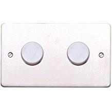 Двойной электронный диммер-переключатель MK Electric 2X 60-450W/60-375VA, K14302BSS, матовая сталь