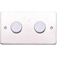 Двойной электронный диммер-переключатель MK Electric 2X 60-450W/60-375VA, K14302TCO,сталь