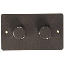 Двойной электронный диммер-переключатель MK Electric 2X 60-450W/60-375VA, K14302TIR, текстурированное железо