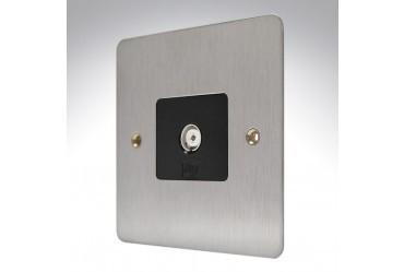 Розетка TV/FM (гнездо) неизолированная MK Electric, K14320BSSB, матовая сталь