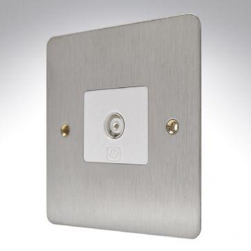 Розетка TV/FM (гнездо) неизолированная MK Electric, K14320LBSB, лакированная матовая сталь