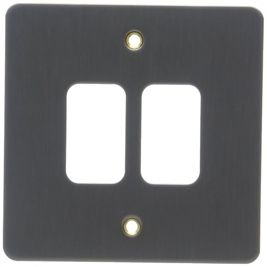 Лицевая панель для 2 модулей GRID, K14332TIR, Текстурированное железо