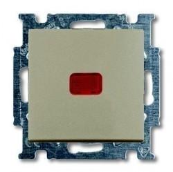 Выключатель 1-клавишный кнопочный ABB BASIC55, с подсветкой, скрытый монтаж, шампань, 1413-0-1092