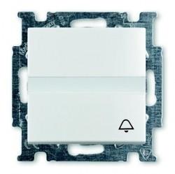 Выключатель 1-клавишный кнопочный ABB BASIC55, скрытый монтаж, альпийский белый, 1413-0-1086