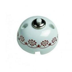 Выключатель 1-клавишный кнопочный Fontini GARBY, открытый монтаж, белый/коричневывй, 30310132