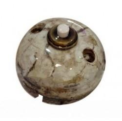Выключатель 1-клавишный кнопочный Fontini GARBY, открытый монтаж, мрамор коричневый, 30310152