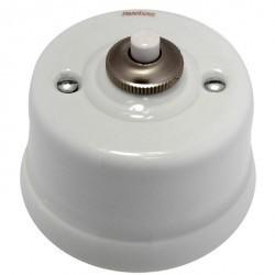 Выключатель 1-клавишный кнопочный Fontini GARBY, открытый монтаж, белый/коричневывй, 30312132