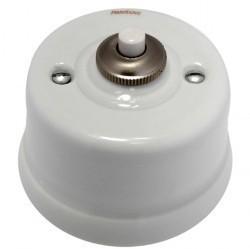 Выключатель 1-клавишный кнопочный Fontini GARBY, открытый монтаж, белый, 30312172