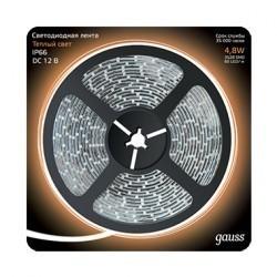 Лента LED 2835/60-SMD 4.8W 12V DC теплый белый IP66 (блистер 5м) Gauss 311000105