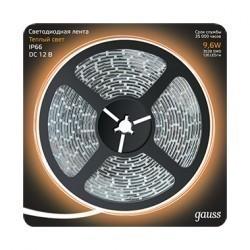 Лента LED 2835/120-SMD 9.6W 12V DC теплый белый IP66 (блистер 5м) Gauss 311000110