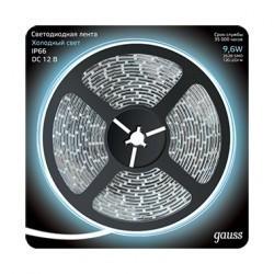 Лента LED 2835/120-SMD 9.6W 12V DC холодный белый IP66 (блистер 5м) Gauss 311000310